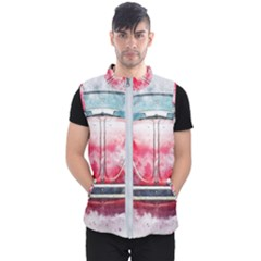 Red Car Old Car Art Abstract Men s Puffer Vest