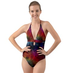 Abstract Picture Pattern Galaxy Halter Cut Out One Piece Swimsuit