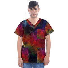 Abstract Picture Pattern Galaxy Men s V Neck Scrub Top