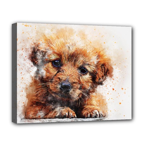 Dog Puppy Animal Art Abstract Deluxe Canvas 20  X 16