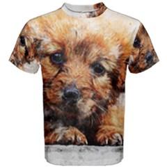 Dog Puppy Animal Art Abstract Men s Cotton Tee