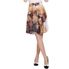 Dog Puppy Animal Art Abstract A Line Skirt