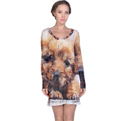 Dog Puppy Animal Art Abstract Long Sleeve Nightdress