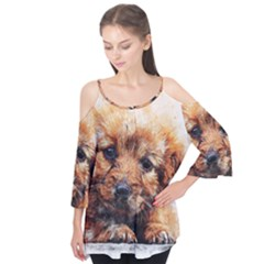 Dog Puppy Animal Art Abstract Flutter Tees
