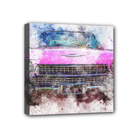 Pink Car Old Art Abstract Mini Canvas 4  X 4