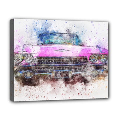 Pink Car Old Art Abstract Deluxe Canvas 20  X 16