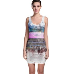 Pink Car Old Art Abstract Bodycon Dress