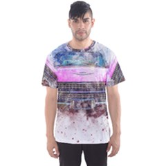 Pink Car Old Art Abstract Men s Sports Mesh Tee