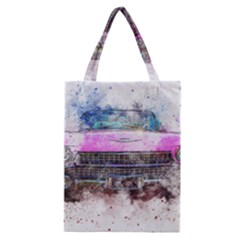 Pink Car Old Art Abstract Classic Tote Bag
