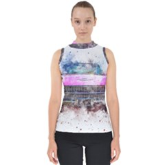 Pink Car Old Art Abstract Shell Top