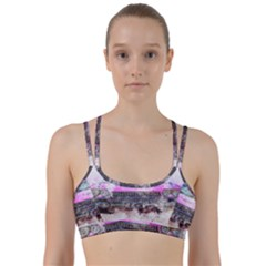 Pink Car Old Art Abstract Line Them Up Sports Bra