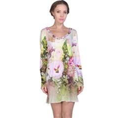 Flowers Bouquet Art Abstract Long Sleeve Nightdress