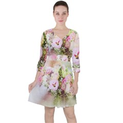 Flowers Bouquet Art Abstract Ruffle Dress