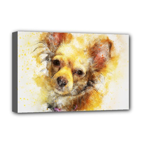 Dog Animal Art Abstract Watercolor Deluxe Canvas 18  X 12
