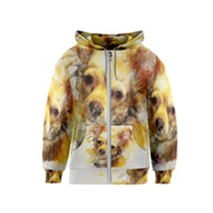 Dog Animal Art Abstract Watercolor Kids  Zipper Hoodie