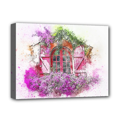 Window Flowers Nature Art Abstract Deluxe Canvas 16  X 12