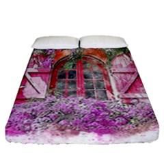 Window Flowers Nature Art Abstract Fitted Sheet (queen Size)