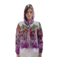 Window Flowers Nature Art Abstract Hooded Wind Breaker (women)