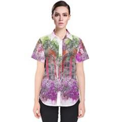 Window Flowers Nature Art Abstract Women s Short Sleeve Shirt
