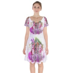 Window Flowers Nature Art Abstract Short Sleeve Bardot Dress