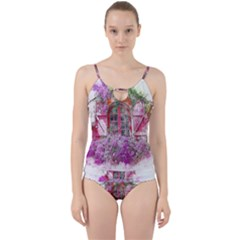 Window Flowers Nature Art Abstract Cut Out Top Tankini Set