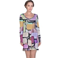 Background Painted Squares Art Long Sleeve Nightdress