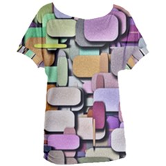 Background Painted Squares Art Women s Oversized Tee