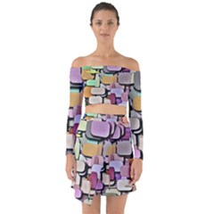 Background Painted Squares Art Off Shoulder Top With Skirt Set