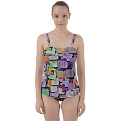 Background Painted Squares Art Twist Front Tankini Set