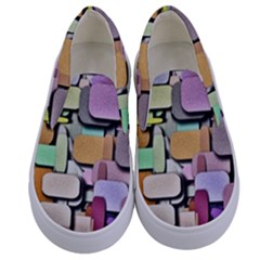 Background Painted Squares Art Kids  Canvas Slip Ons