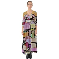 Background Painted Squares Art Button Up Boho Maxi Dress
