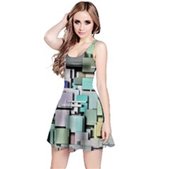 Background Painted Squares Art Reversible Sleeveless Dress