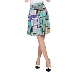 Background Painted Squares Art A Line Skirt