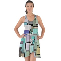 Background Painted Squares Art Show Some Back Chiffon Dress