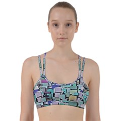 Background Painted Squares Art Line Them Up Sports Bra