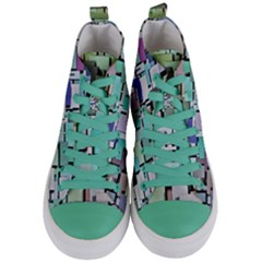 Background Painted Squares Art Women s Mid Top Canvas Sneakers