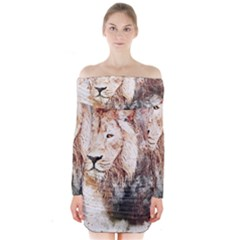Lion Animal Art Abstract Long Sleeve Off Shoulder Dress