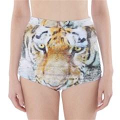 Tiger Animal Art Abstract High Waisted Bikini Bottoms