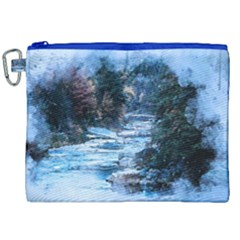 River Water Art Abstract Stones Canvas Cosmetic Bag (xxl)