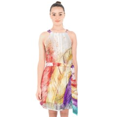Feathers Bird Animal Art Abstract Halter Collar Waist Tie Chiffon Dress