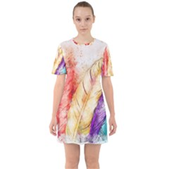 Feathers Bird Animal Art Abstract Sixties Short Sleeve Mini Dress