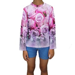 Flowers Roses Bouquet Art Abstract Kids  Long Sleeve Swimwear