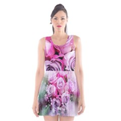 Flowers Roses Bouquet Art Abstract Scoop Neck Skater Dress