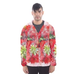Strawberries Fruit Food Art Hooded Wind Breaker (men)
