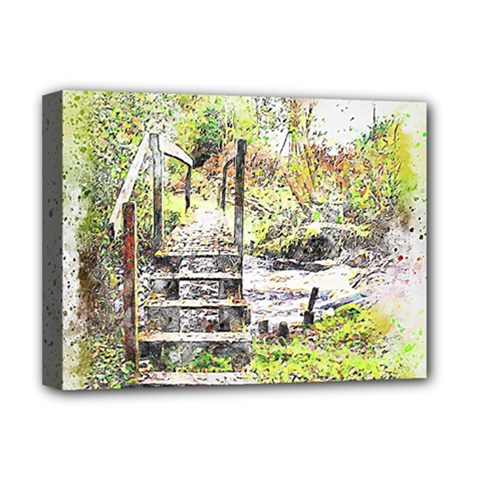 River Bridge Art Abstract Nature Deluxe Canvas 16  X 12