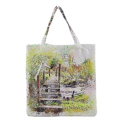 River Bridge Art Abstract Nature Grocery Tote Bag