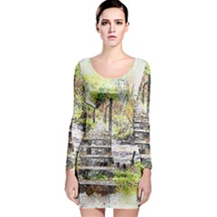 River Bridge Art Abstract Nature Long Sleeve Bodycon Dress