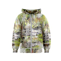 River Bridge Art Abstract Nature Kids  Zipper Hoodie