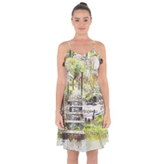 River Bridge Art Abstract Nature Ruffle Detail Chiffon Dress