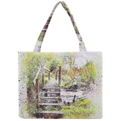 River Bridge Art Abstract Nature Mini Tote Bag